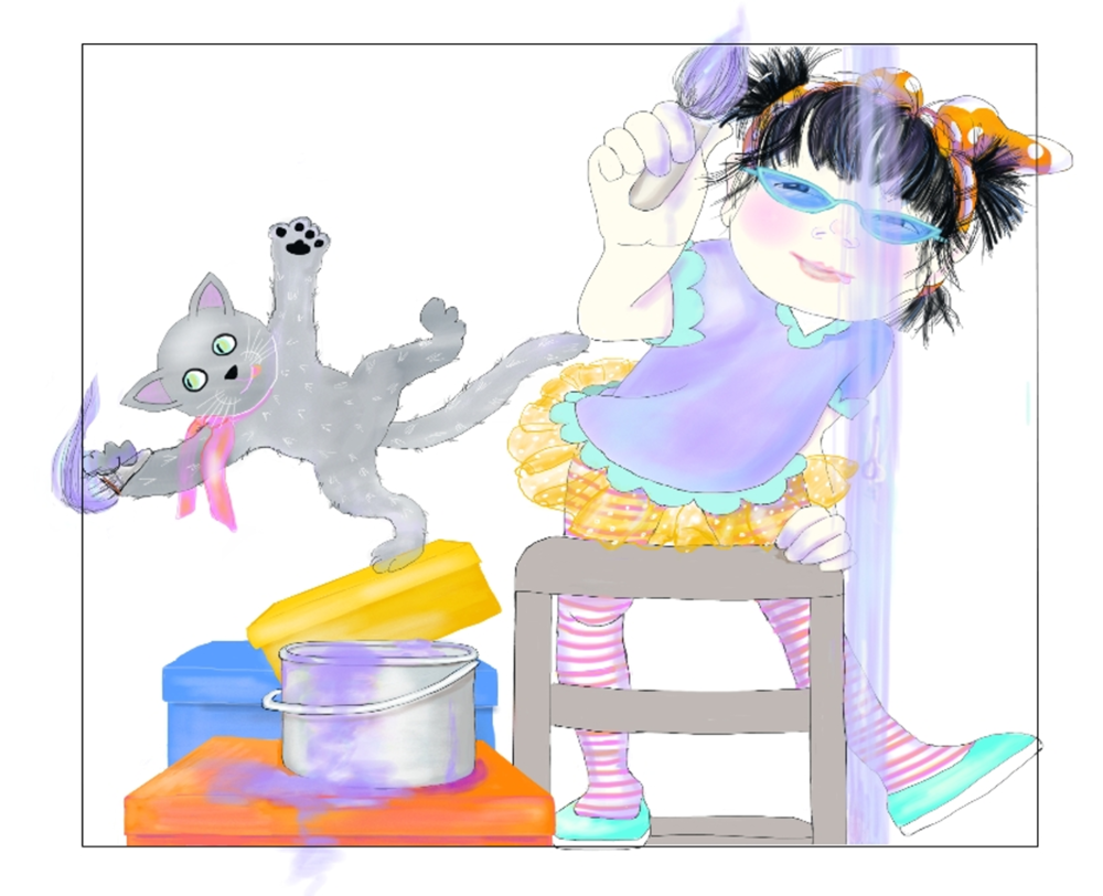 Jasmine and Boo Painting Their Room, by Elizabeth B Martin