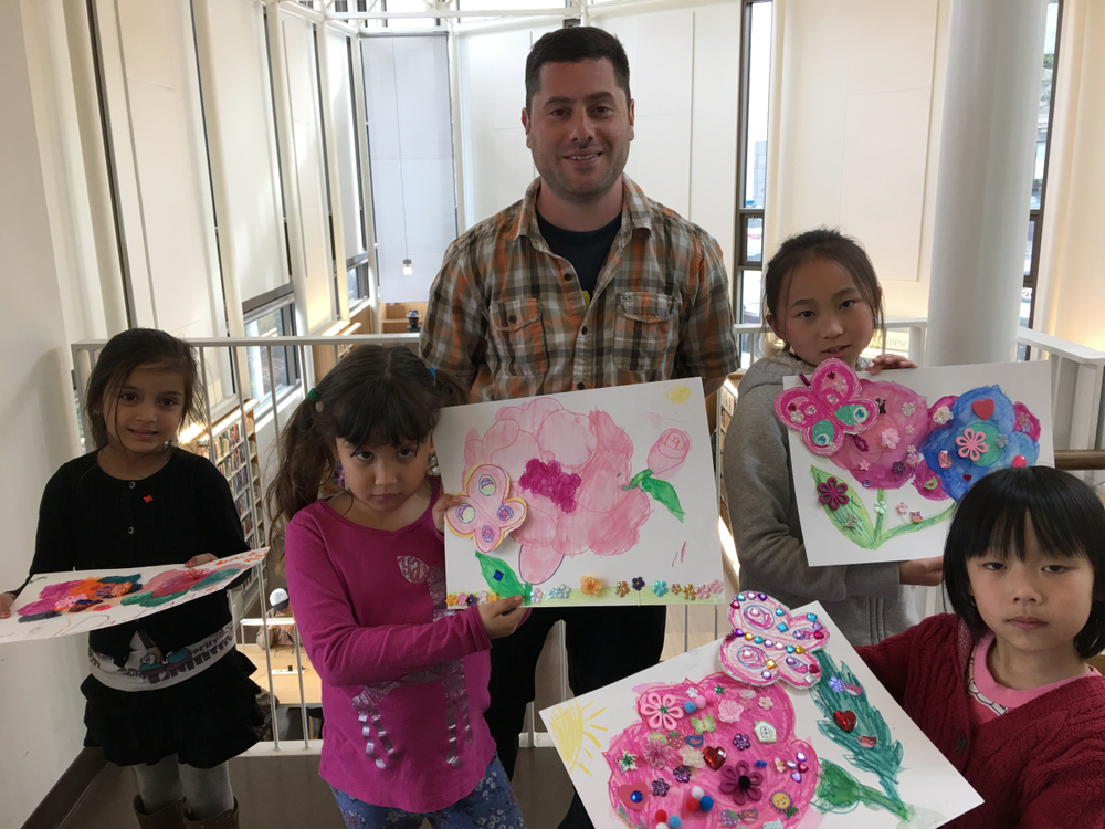 Teacher Sean and TelHi Students at my Flowers and Butterflies Art and Craft Project Event at SF Public Library North Beach