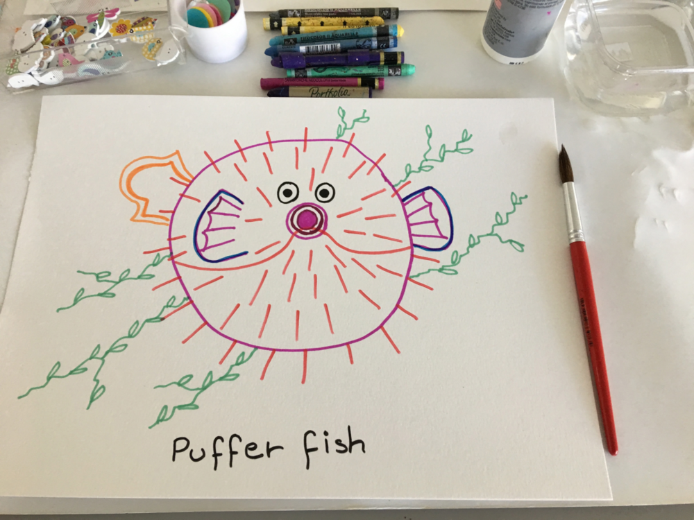 Puffer Fish Line Drawing