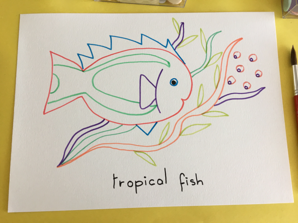 Tropical Fish Line Drawing
