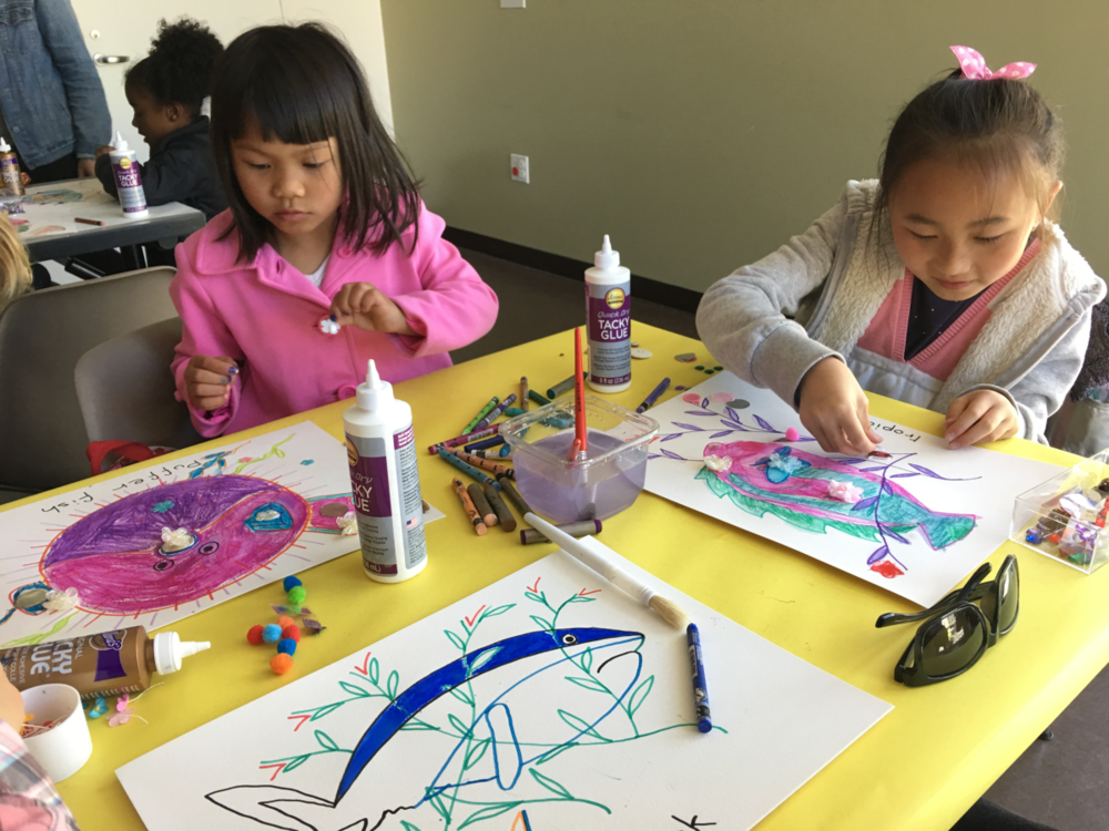 Kids making art and craft projects