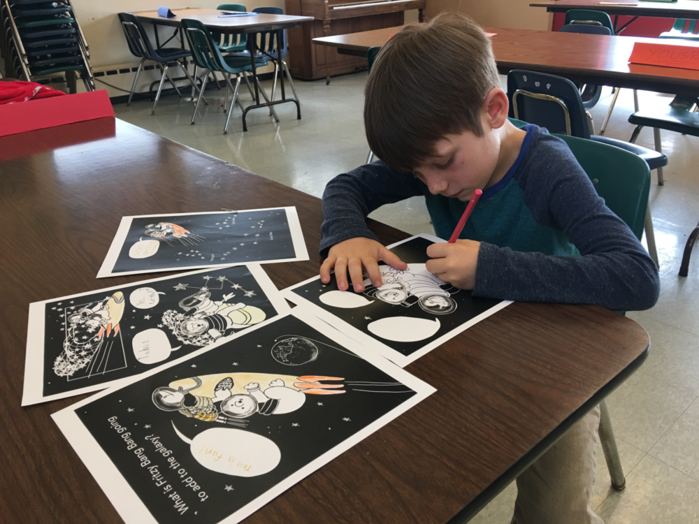 A TelHi Student coloring in FRITZY BANG BANG MAKES A STAR, by Elizabeth B Martin