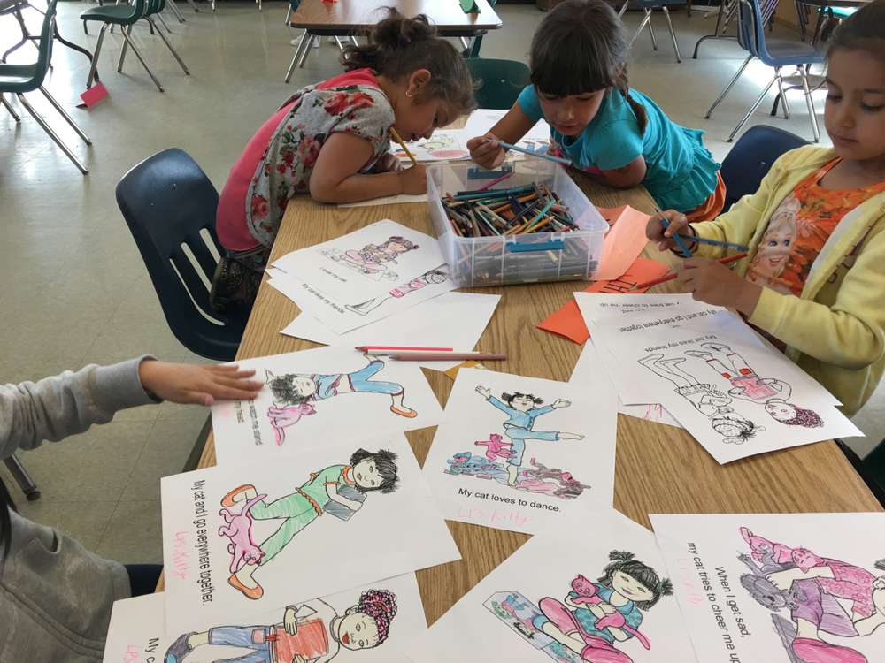 TelHi students working on my coloring pages!