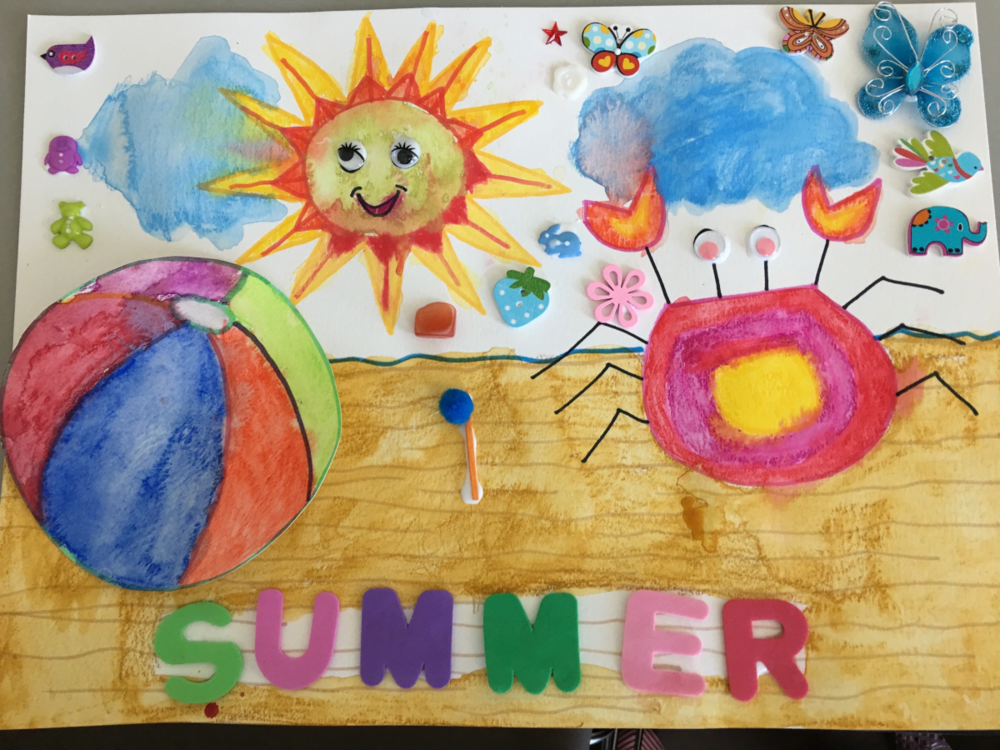 Moms and Kids at my SUMMER Art and Craft Project event, and one of the amazing results!