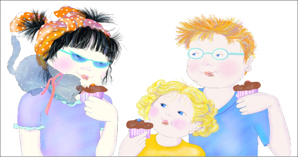 Jasmine made chocolate muffins for new friends, illustration by Elizabeth B Martin