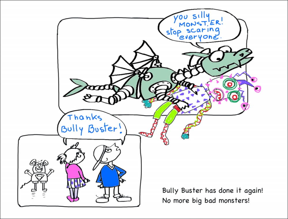 Bully Buster and the Monster Cartoon / Doodle Page by Elizabeth B Martin