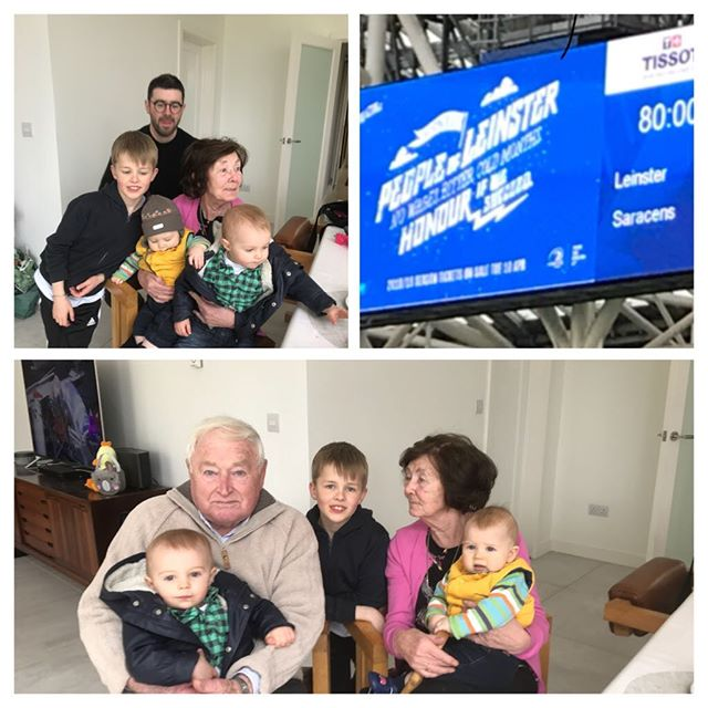What a wonderful Easter Sunday. Spent morning with Family. Mum and Dad married 60 years next week.  Afternoon in Aviva celebrating Leinster Win. Can't get any better.