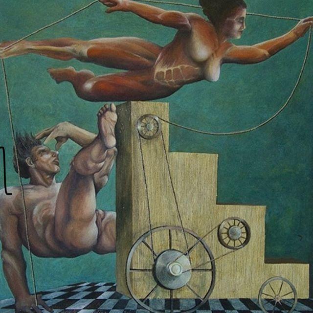 'Anatomy of Fall' oil on canvas 100 x 100 cm by Andrzej Mazur