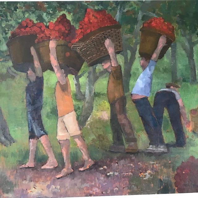 'The Apple Pickers' oil on canvas. New work by John Brobbel.