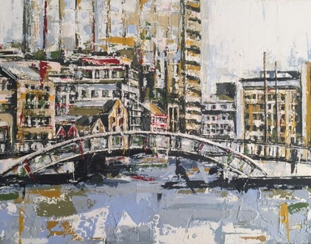 Grand canal Dock Series by Yvonne Moore. Contact Siobhan@thegallerydalkey.com. Stunning paintings, depicting one of Dublin's Treasures.