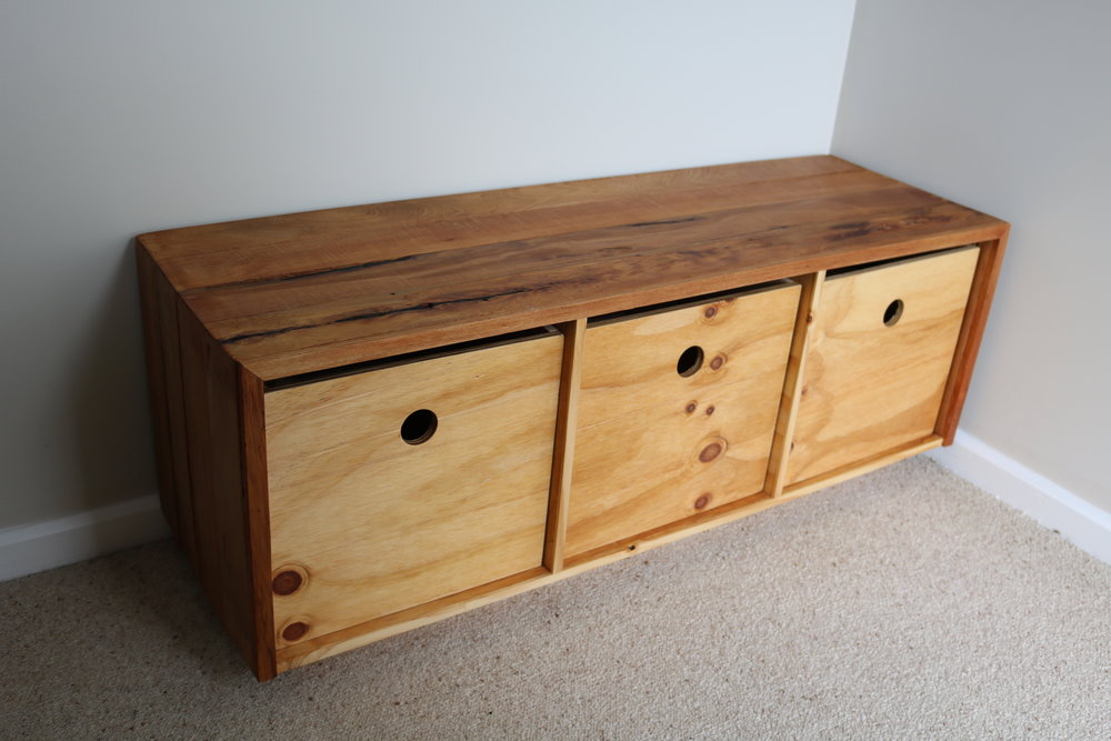 Recycled rimu and pine storage bench