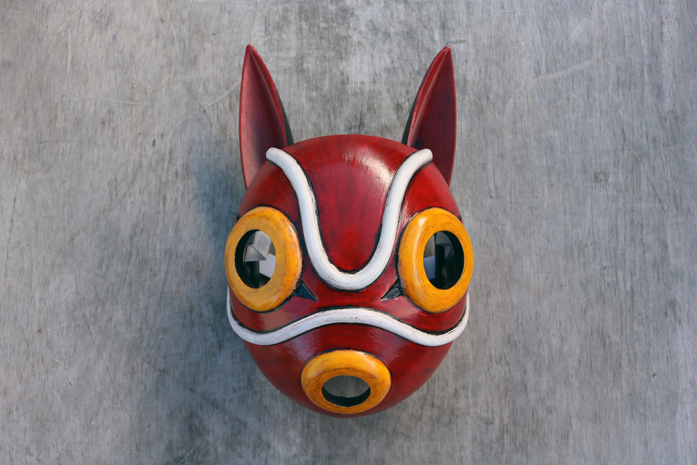 Replica 3d printed prop mask from Princess Mononoke, 1997.