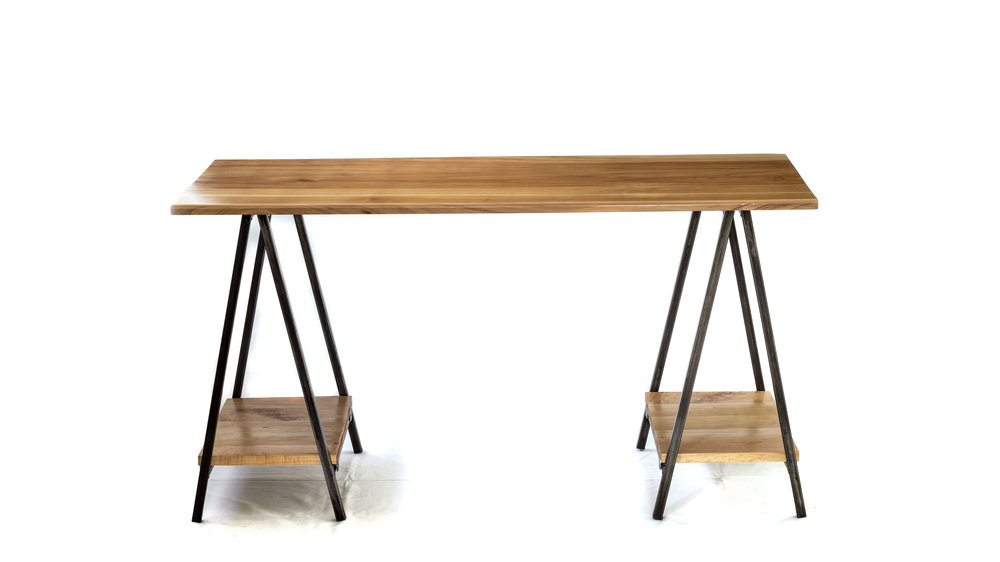 Macrocarpa and steel trestle style desk