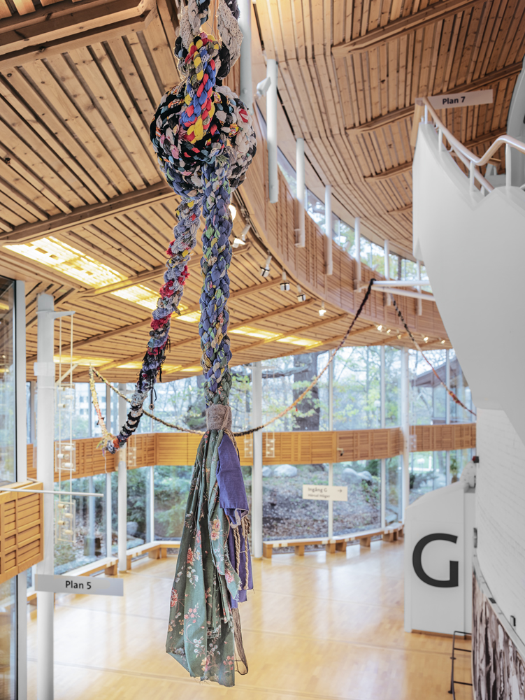 Moor ( detail from 500+ feet of rope pictured above) and  Touch  showing at Accelerator, Stockholm University  October 30 - November 11, 2018  Photo: Jean-Baptiste Béranger. Accelerator at Stockholm University.