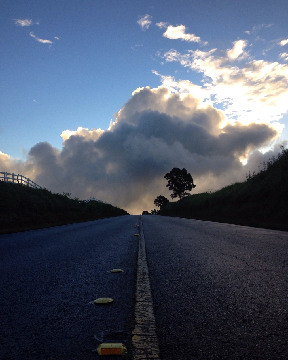 Driving into the clouds...at least it looked that way.
