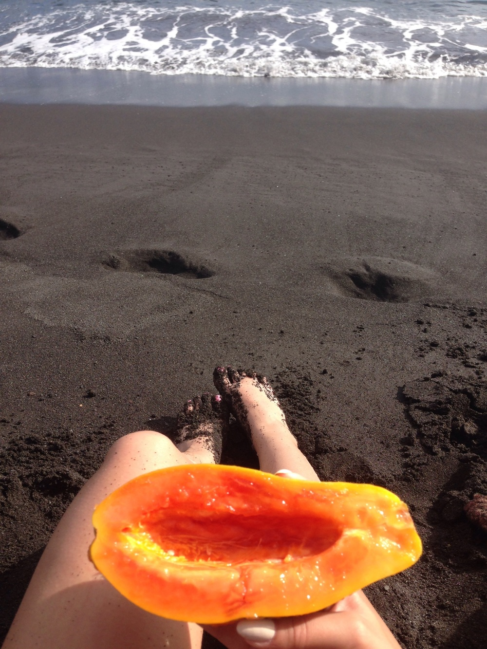 We took some papaya to eat.