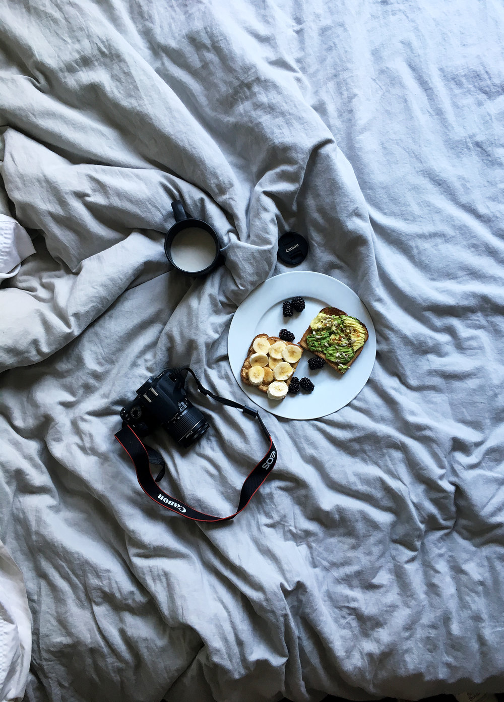 My cozy bed. My favorite snacks: peanut butter toast with bananas and honey & avocado toast with red pepper flakes and sunflower seeds. Yum.