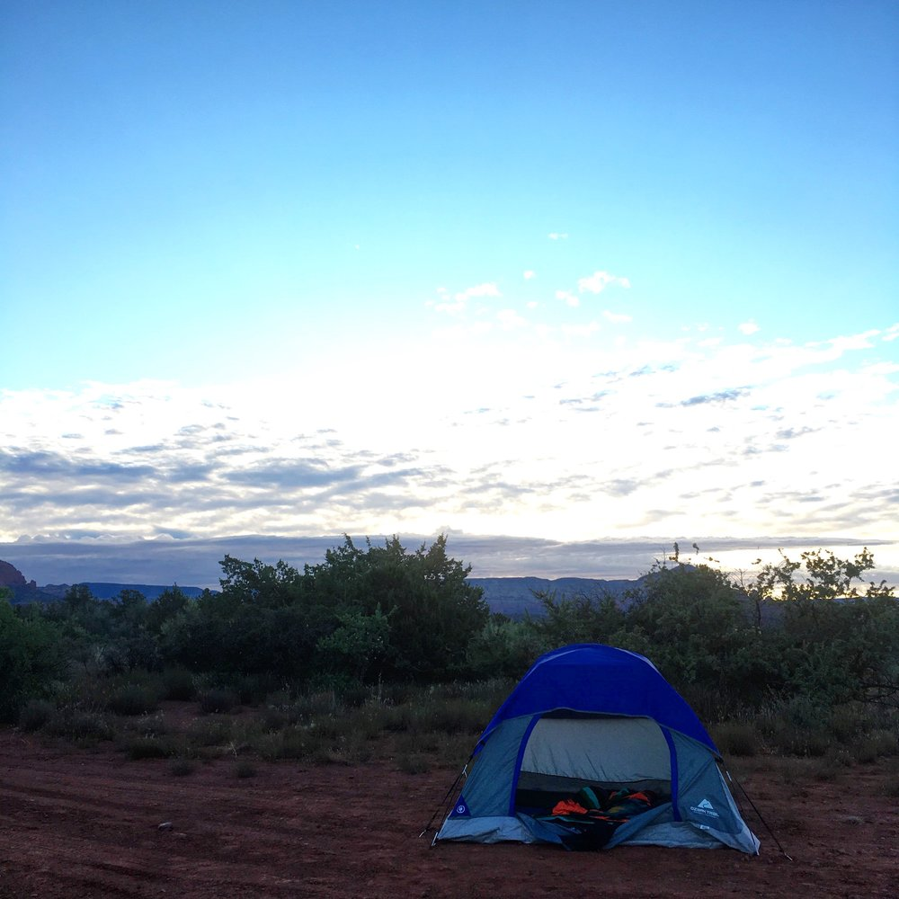 Airbnb rent-a-tent in the desert.