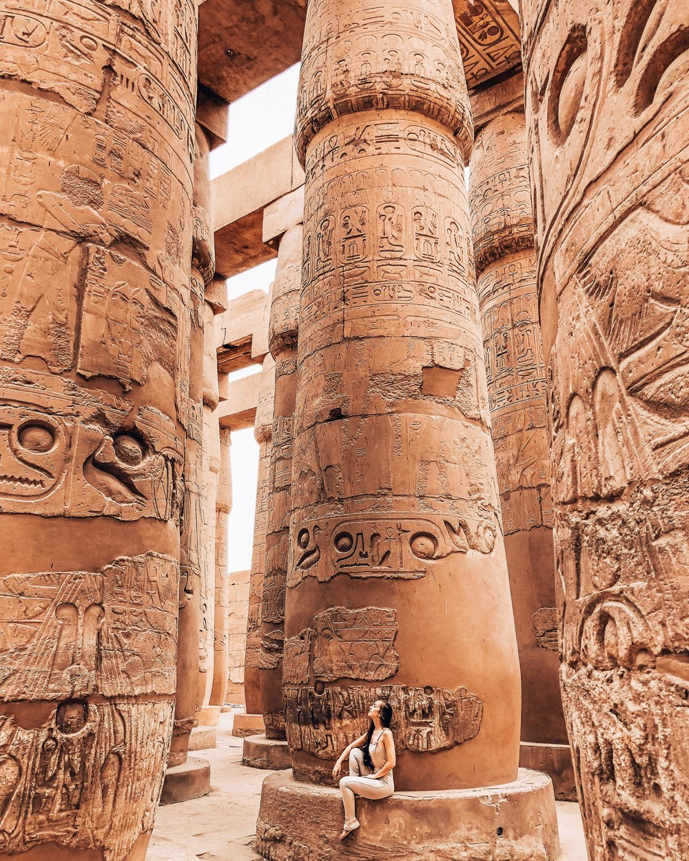 There are 134 columns at Karnak Temple. 122 of them are 10 meters tall, and 12 of them are 21 meters tall.