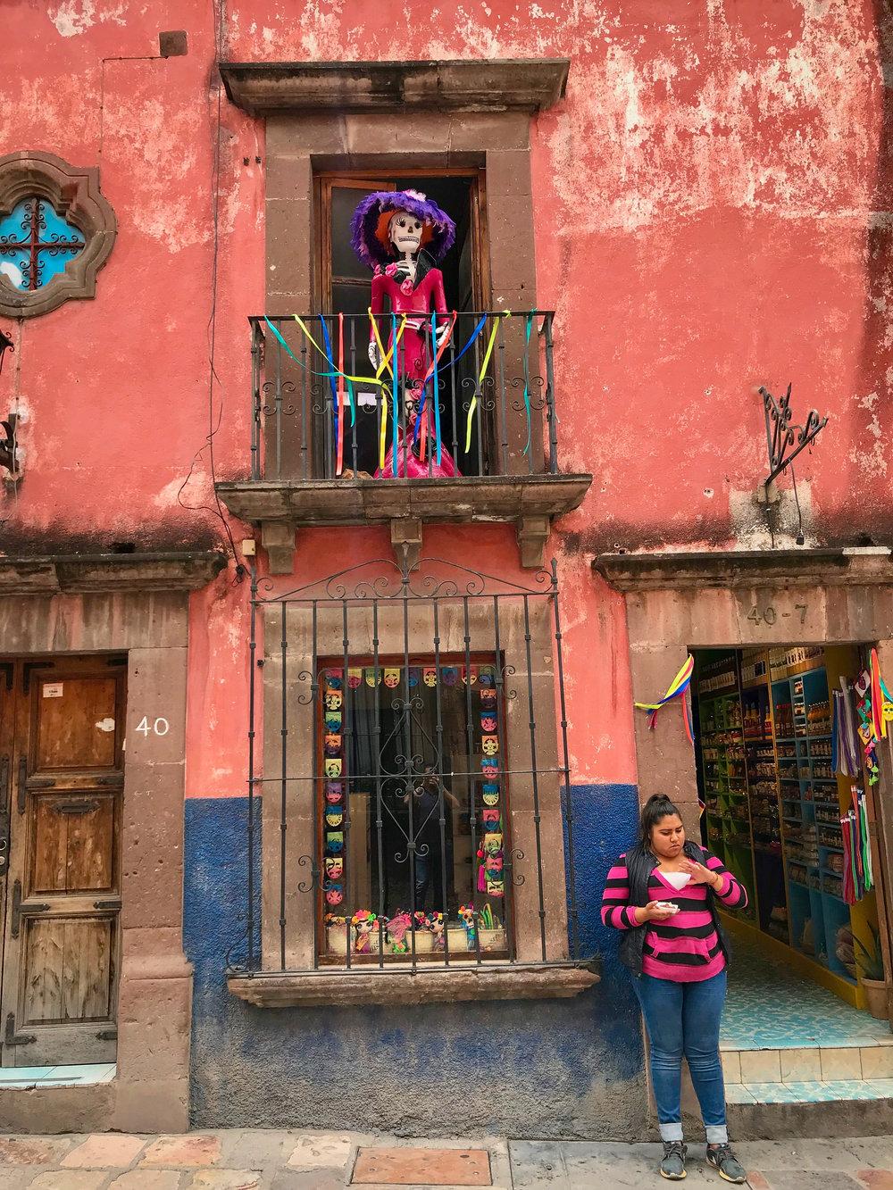 Typica Balcony Skull decoration in  San Miguel De Allende, Guanajuato, Mexico