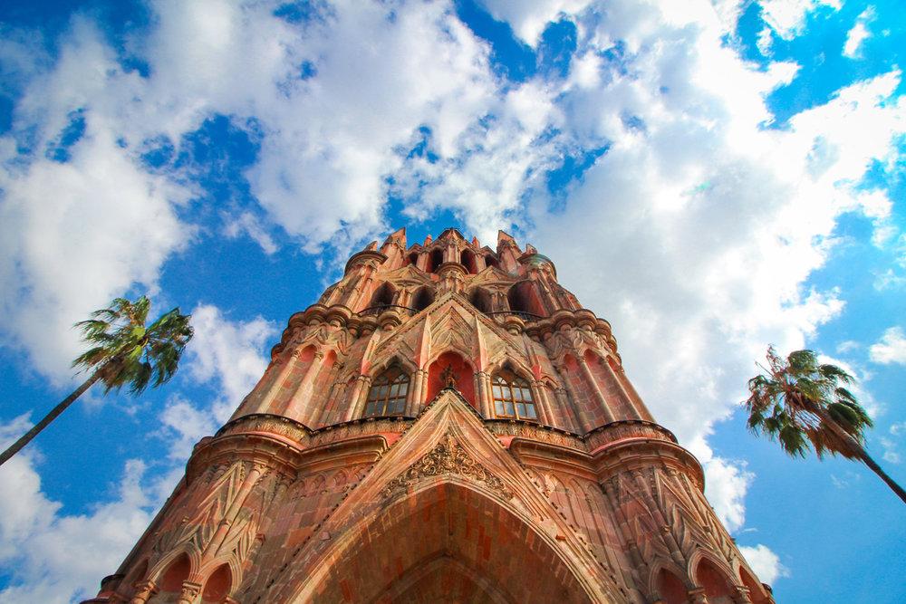 Looking up at Parroquia San Miguel de Arcangel in San Miguel de Allende