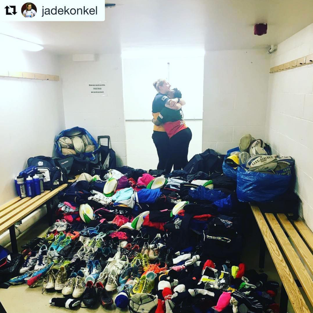We helped Scotland #8, Jade Konkel, donate some much needed supplies to Rugby Uganda.