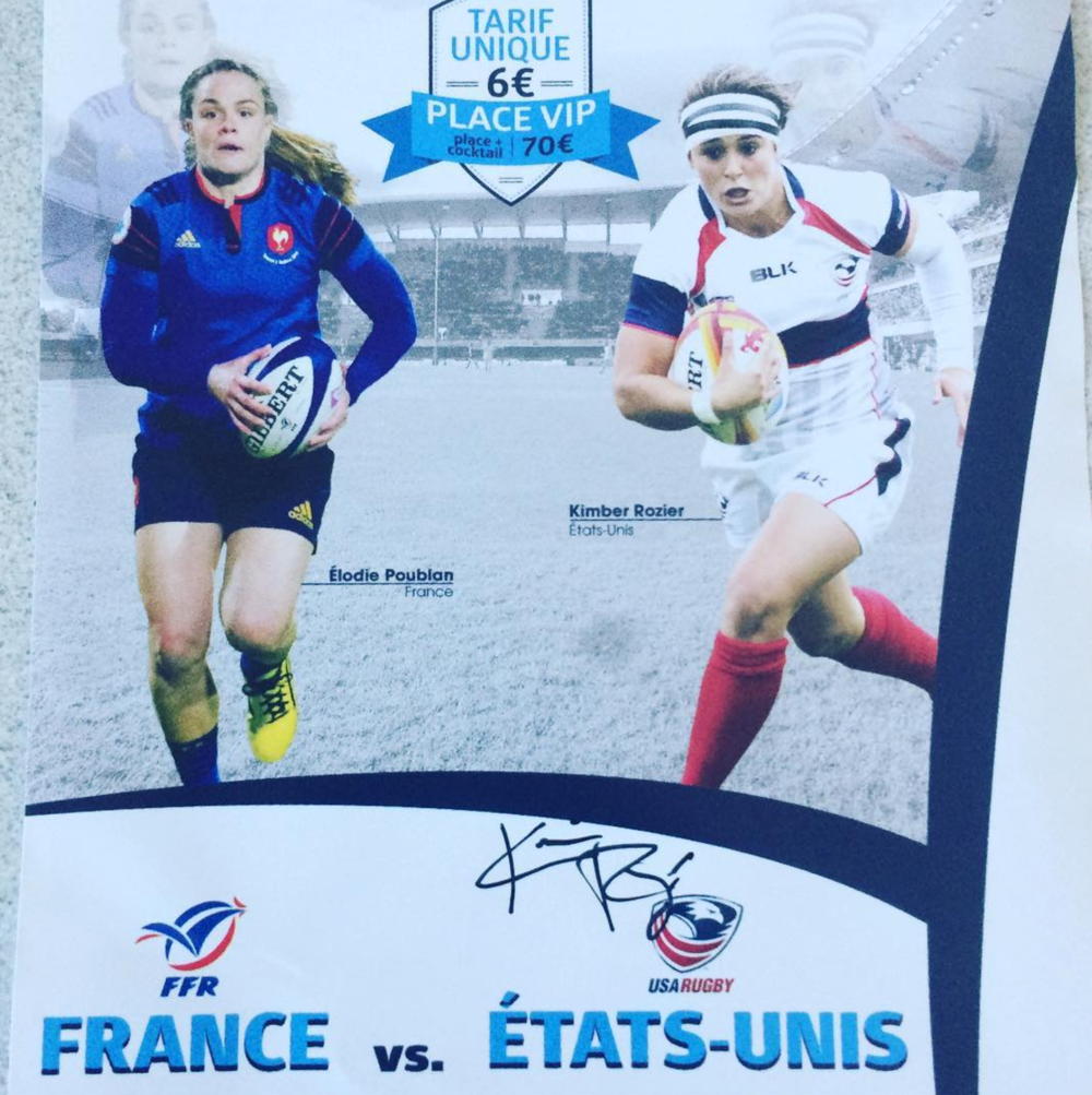 USA Eagle flyhalf Kimber Rozier gave us an autographed mini poster of advertisements for their match. How awesome is it that her face was all over France?