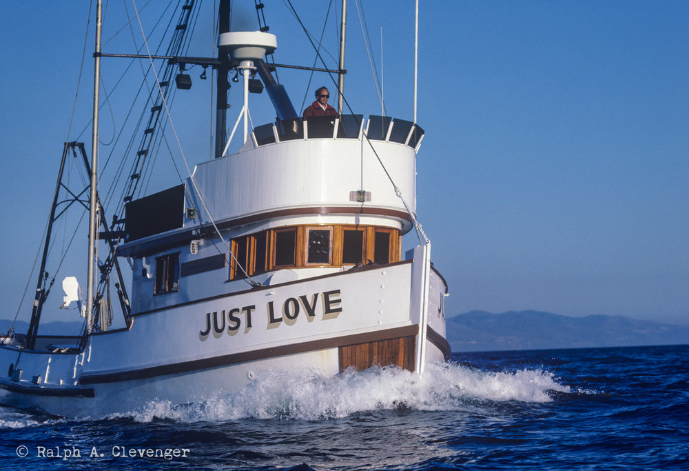 "Ernie at the helm of his boat ""Just Love"" off Santa Barbara, California."