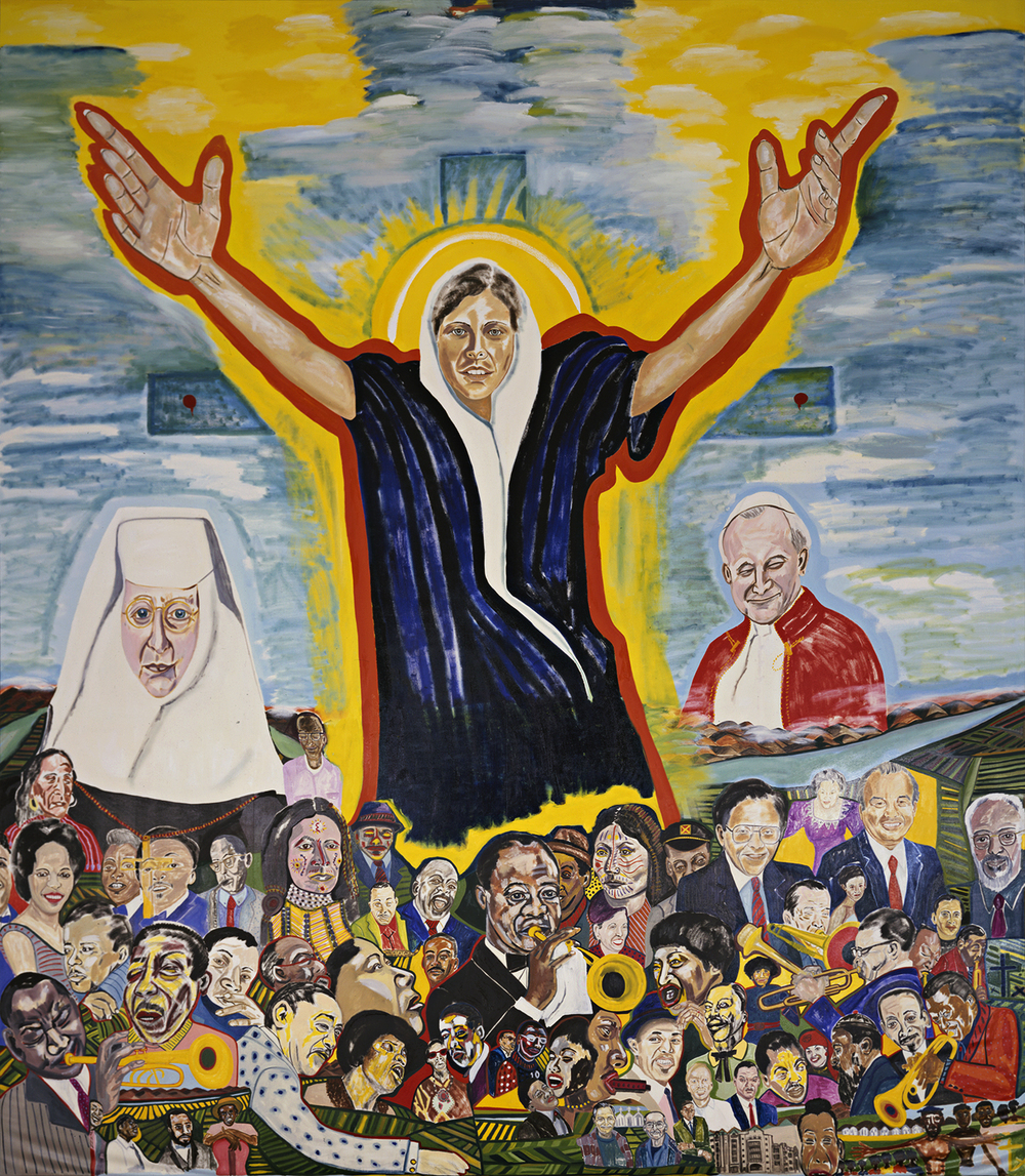 The Assumption of Mary     1992-1993    Oil on canvas    33 x 28 ft.    Collection of the Library Resource Center, Xavier University of Louisiana, New Orleans, Louisiana