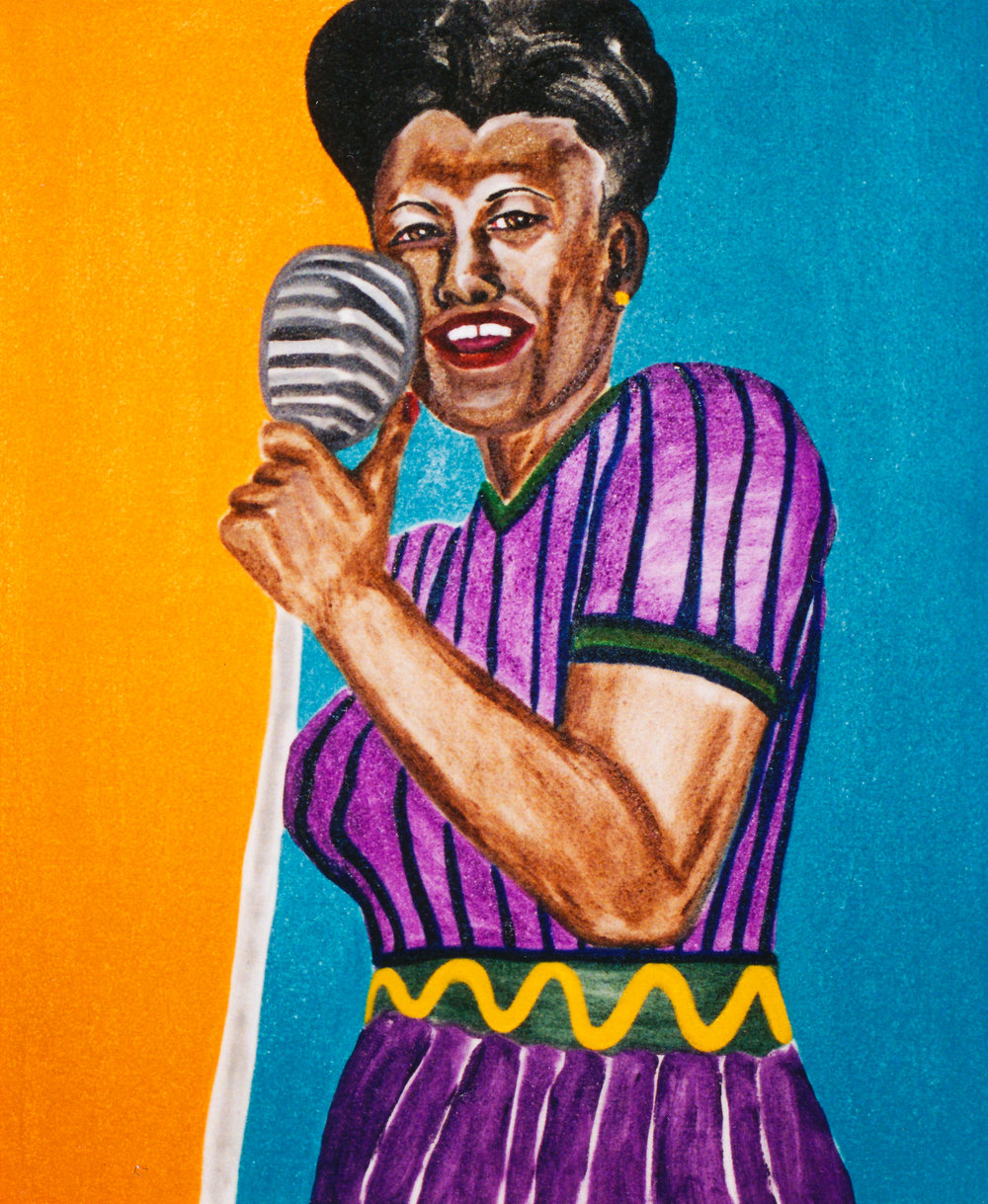 Ella Fitzgerald at the Musical Instrument Museum, Phoenix - A brief slide show about Frederick J. Brown's series of musicians highlighting his portrait of Ella Fitzgerald introduced the Musical Instrument Museum's Musical Icon program honoring Black History Month in February.