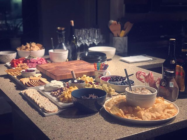 Anatomy of a holiday party. . . . #charcuterie #cheeseboard #wine #frenchonion #spread #party #holidaze #whiteelephant