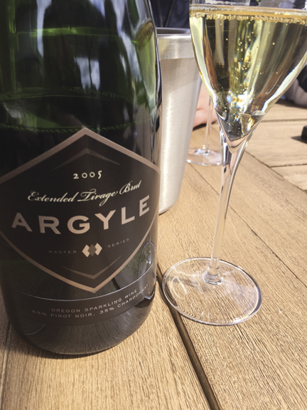 Argyle's 2005 Extended Tirage Brut. Elegant, refined, concentrated and complex, this is a knockout example of a sparkling wine. Aged, nutty, bready aromas are dispersed with medium-modifed but broad and very concentrated notes of citrus and pear, accented by just emerging secondary notes of spice, white chocolate, white truffle, brioche, coffee beans, and cream, lifted by high bracing acidity. Argyle Winery is in Dundee, Oregon.