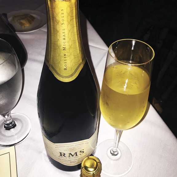 The 2013 RMS Brut (the initials stand for Rollin Michael Soles) is Roco's first venture into sparkling wines and one of the best we have ever tasted. A blend of 67 percent Pinot Noir and 33 percent Chardonnay, the bouquet soars with stone fruits, nectarine, and citrus flavors, paired with light red fruits, all framed in creamy oak. Roco Winery is in Newberg, Oregon.