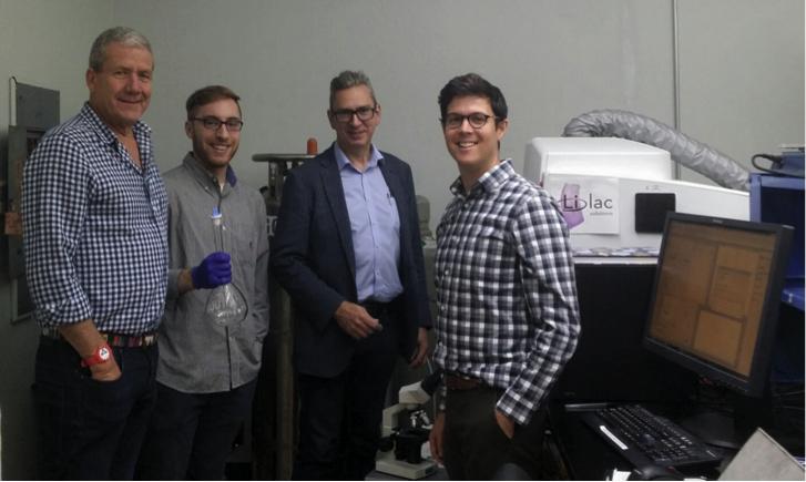 Figure 2. Lilac Solutions test laboratory being visited by Lake's Board with Lilac's CEO and VP Technology