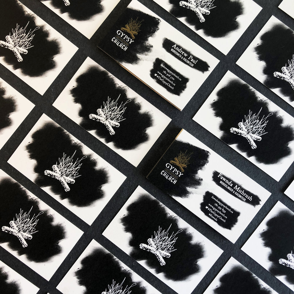 first round of business cards digitally printed on a cream stock