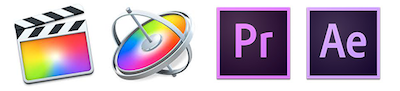 For APPLE FCPX, MOTION, ADOBE PREMIERE and AFTER EFFECTS