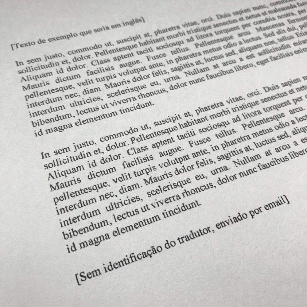 Exemplo de tradução livre