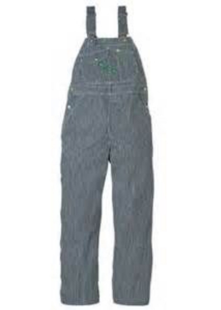 """Train conductor's overalls in """"old hickory"""" stripe"""