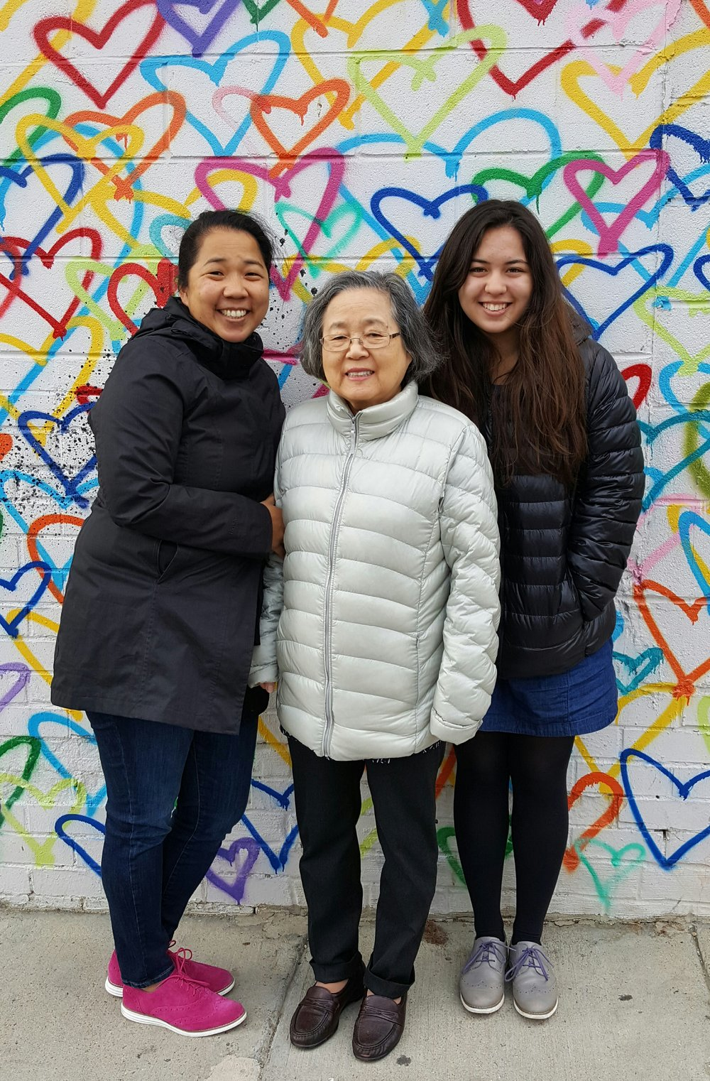 Three generations of Chon women! Elaine with her mom and daughter Julia.