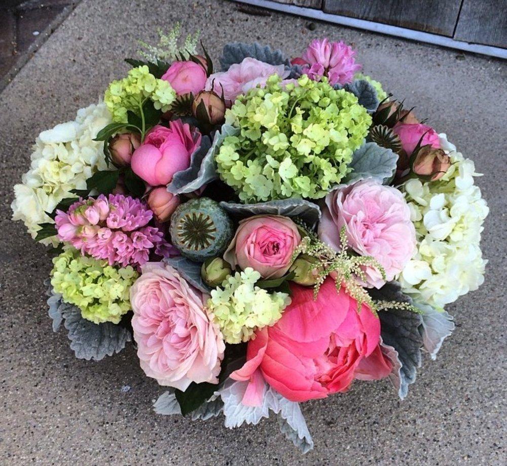 9. Peony and Garden Rose Centerpiece