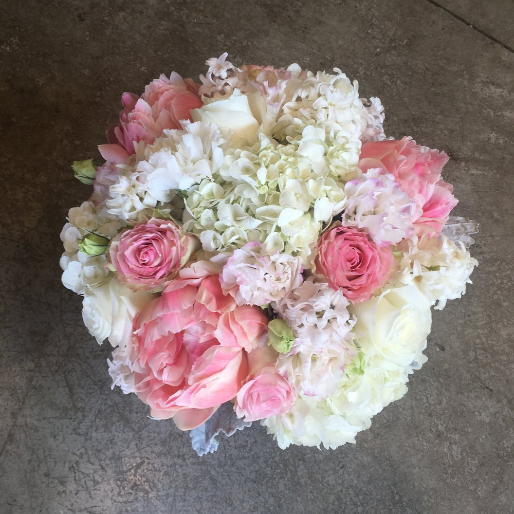 Designer Pink and White Centerpiece