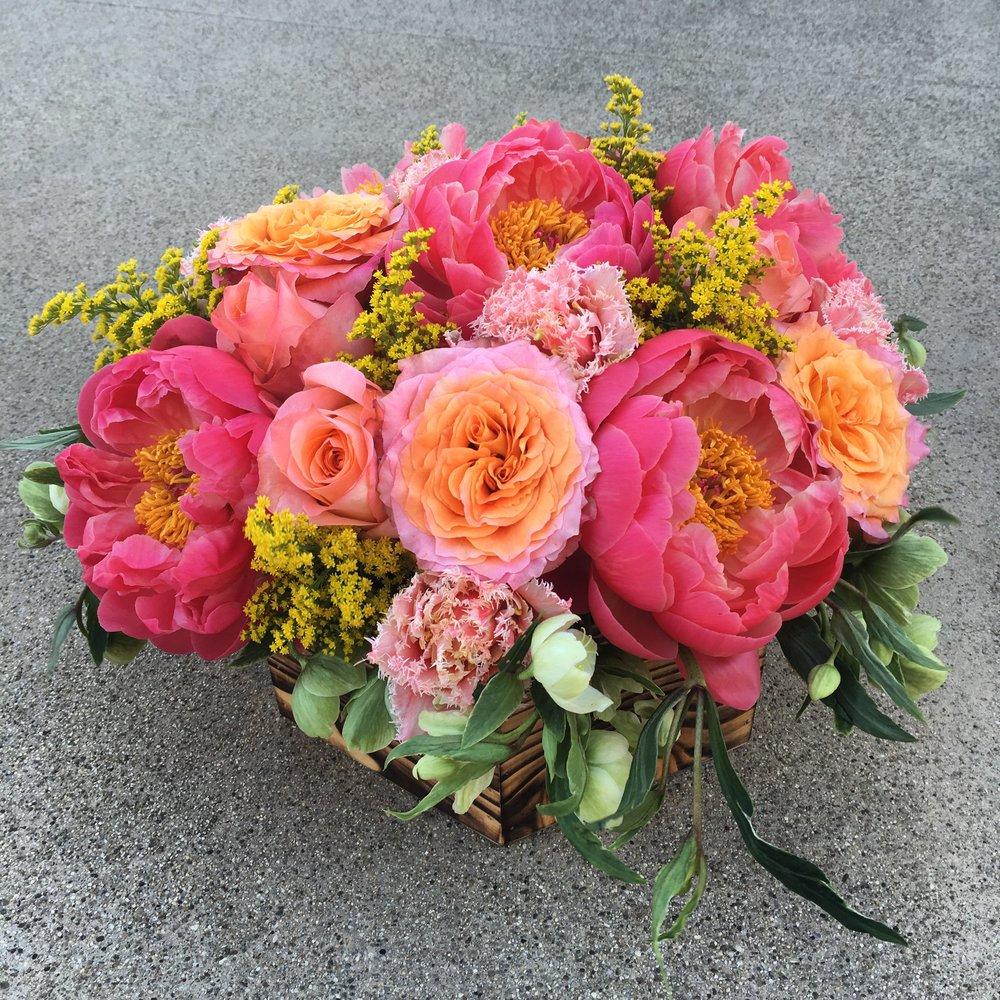 21. Peony and Free Spirit Rose Arrangement
