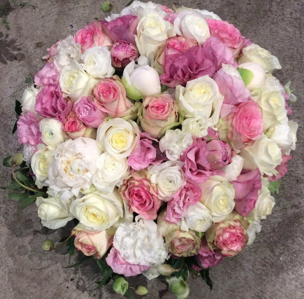29. White and Pink Rose Ball