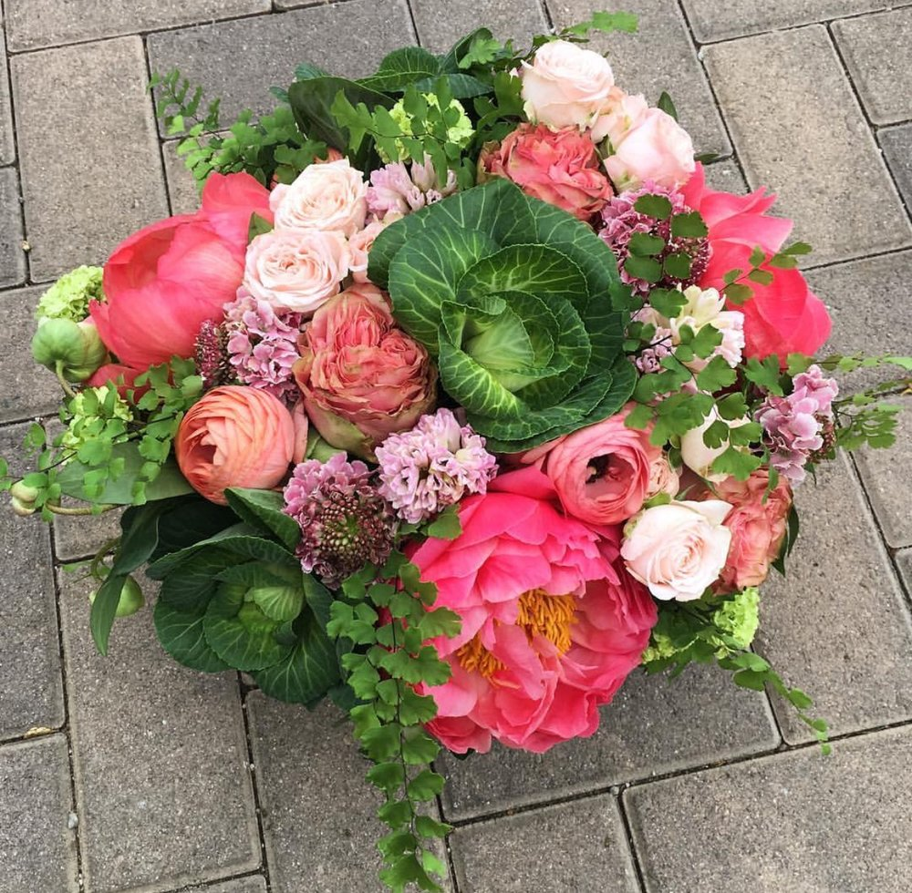 Peony and Cabbage Arrangement