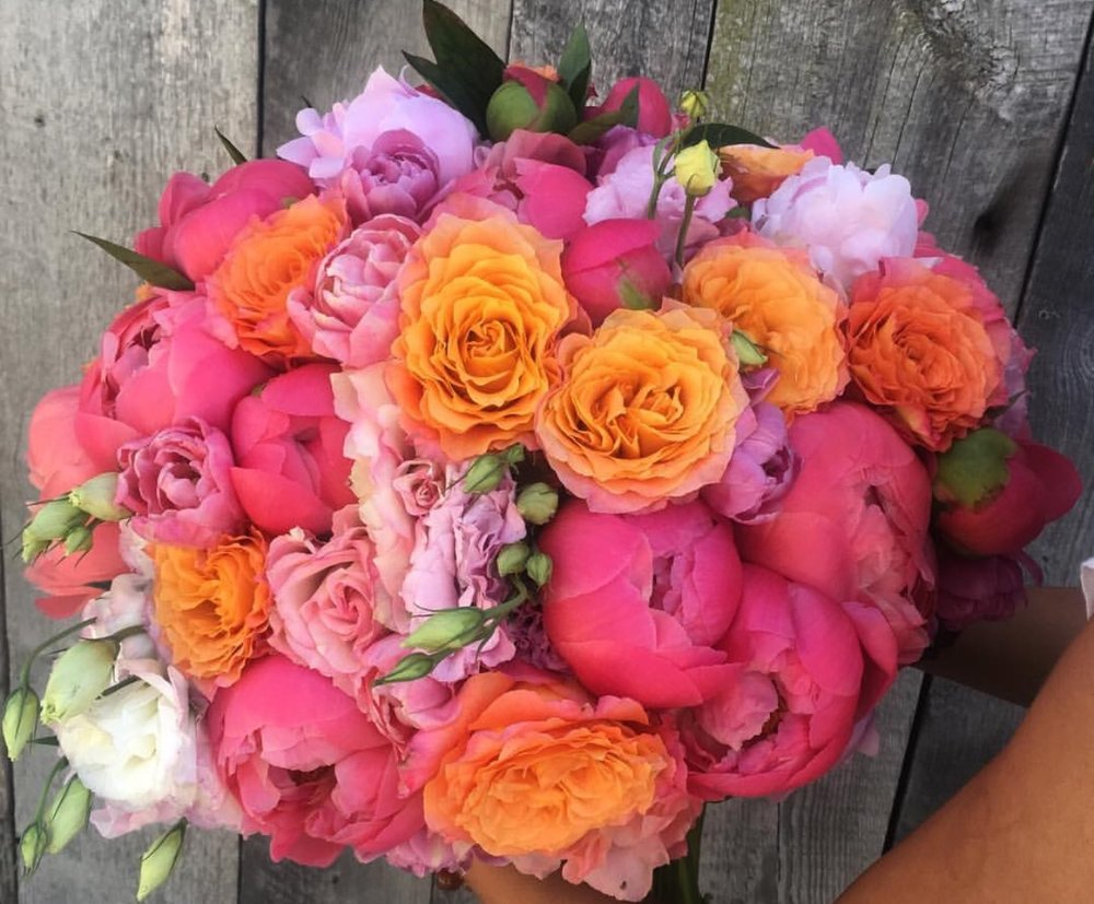 49. Fuchsia and Orange Hand Wrapped Bouquet