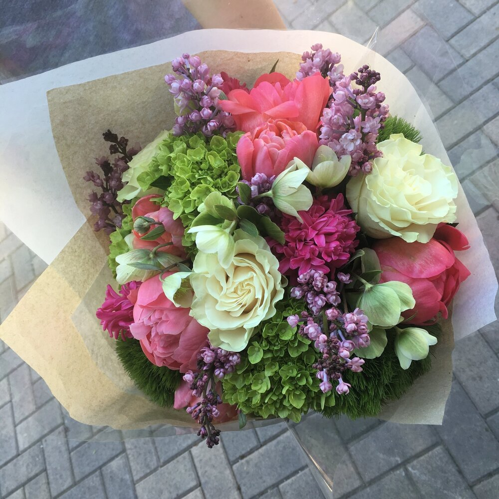 12. Hand Wrapped Seasonal Spring Bouquet