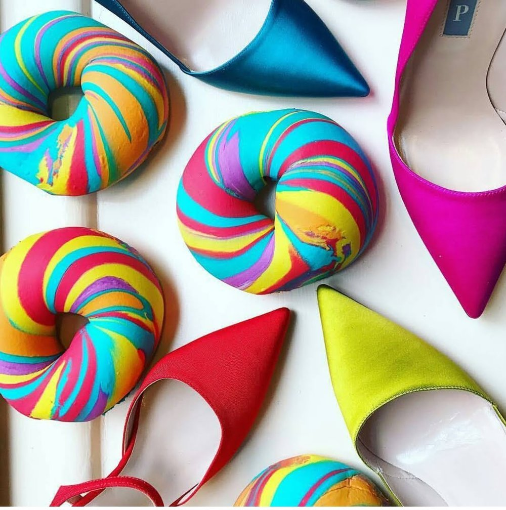 """original rainbow with """"SJP"""" shoes for collaboration with Sarah Jessica Parker shoes"""