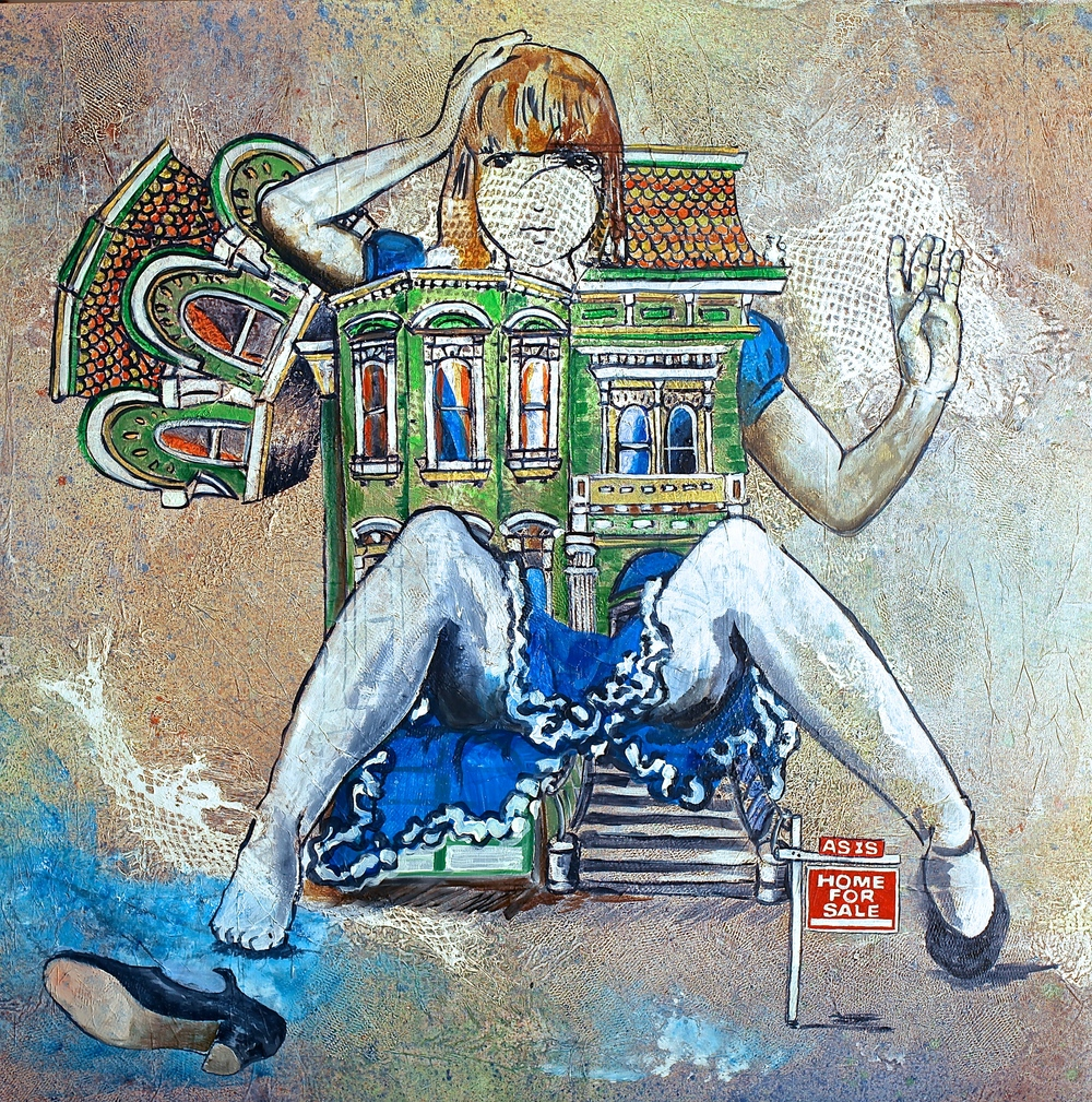 """""""Alice and The Bubble"""" Acrylic on Canvas 36""""x36""""  This painting is about the difficulty to find a house in the crazy Real Estate market of the Bay area. In Short, if you find a house you like, you will buy it and deal with the giant Alice afterward."""