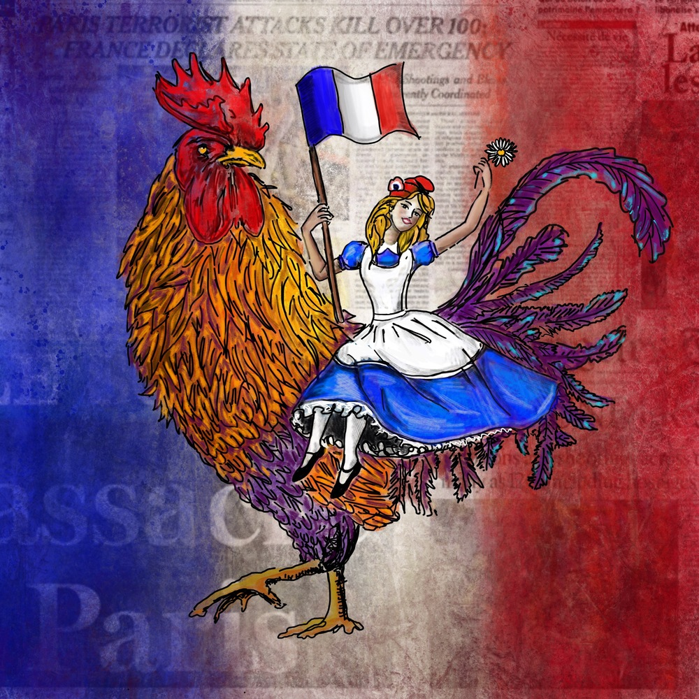 """Hope in Paris"" Digital work Made After the 2015 Terrorist Attacks in Paris. It brings together numerous French symbols, like the rooster, the french flag, Marianne who symbolizes the ""Triumph of the Republic"". She wears the Phrygian cap also sometimes called the liberty cap."