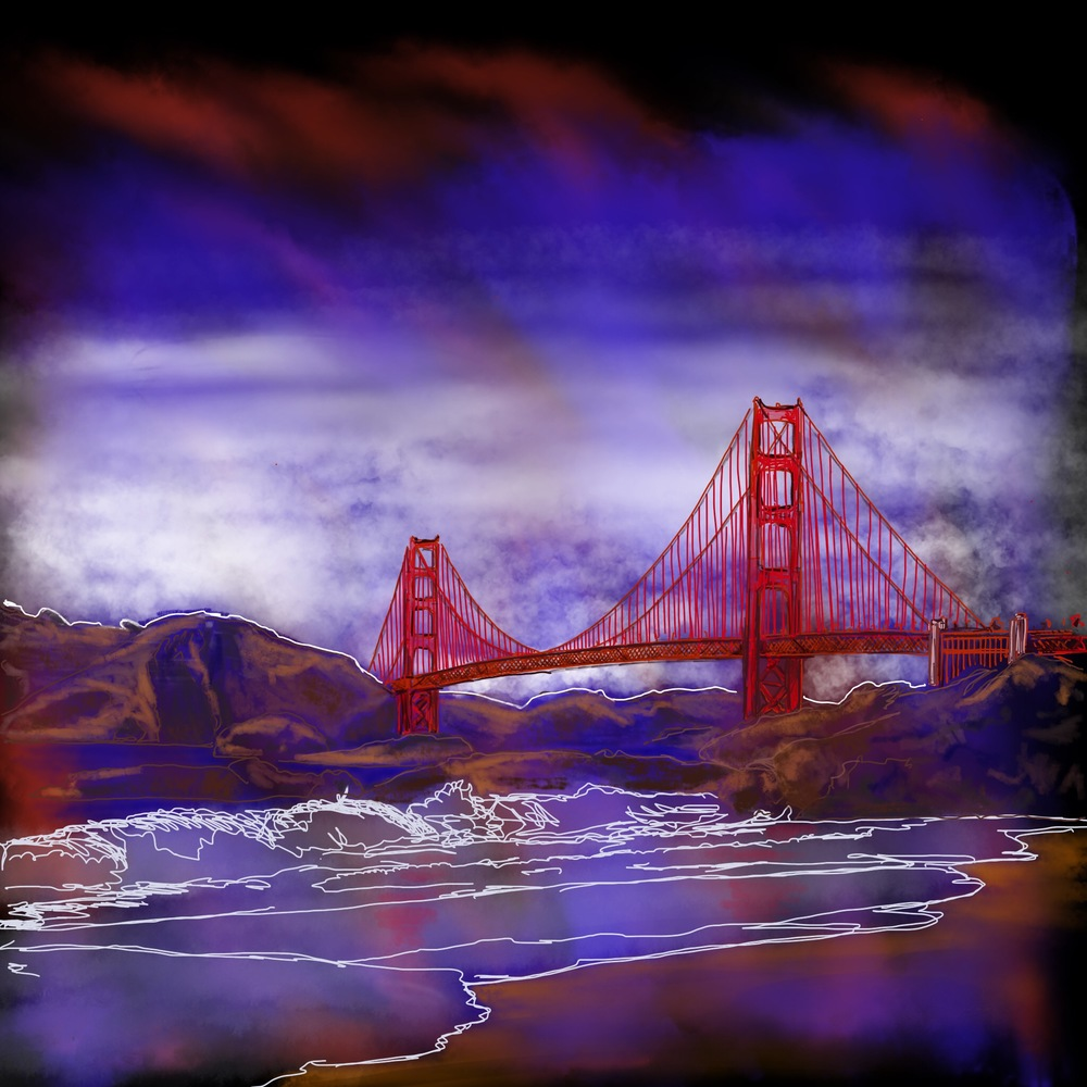 """Bridge"" Digital painting. Coming from Paris, the Golden Gate Bridge reminds me of the Eiffel Tower, with its sky high metal architecture and its history."